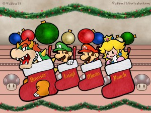 Super-Mario-Characters-In-Christmas-Socks-Wallpaper